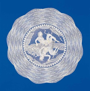 Dagobert Peche, Round Cover with Two Reclining Women
