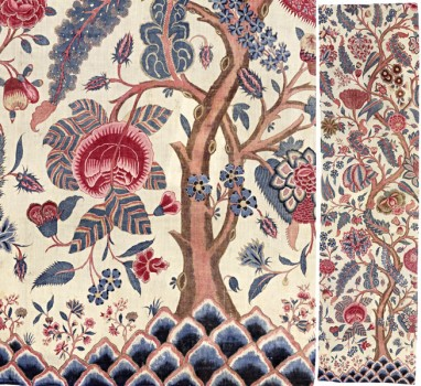 PANEL OF CHINTZ FABRIC with tree-of-life motif