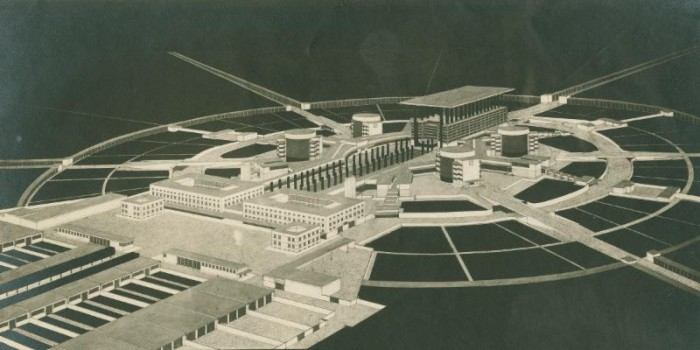 R.M. Schindler, Design for a cemetery and crematorium with a chapel