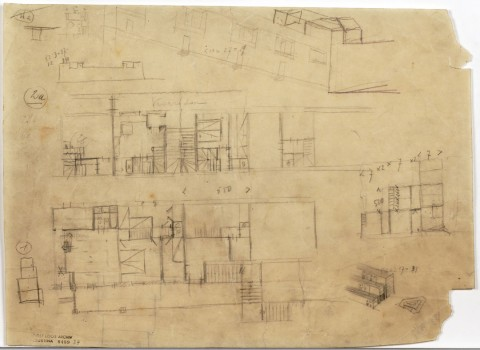 Adolf Loos, Winarskyhof (now: Otto-Haas-Hof), Vienna's 20th district, Durchlaufstraße, floor plans, sections, perspectival sketch, 1923 Tracing paper, pencil © ALBERTINA, Vienna