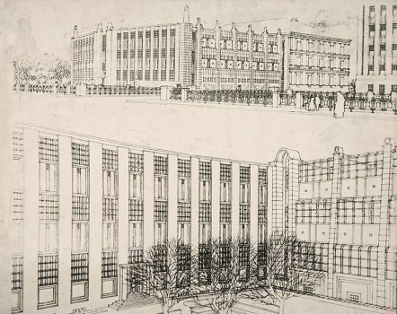 Josef Hoffmann, design for the extension of the Arts and Crafts School, Vienna, 1906.