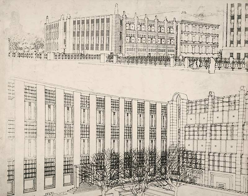 <BODY>Josef Hoffmann, design for the extension of the Arts and Crafts School, Vienna, 1906. <br /></BODY>