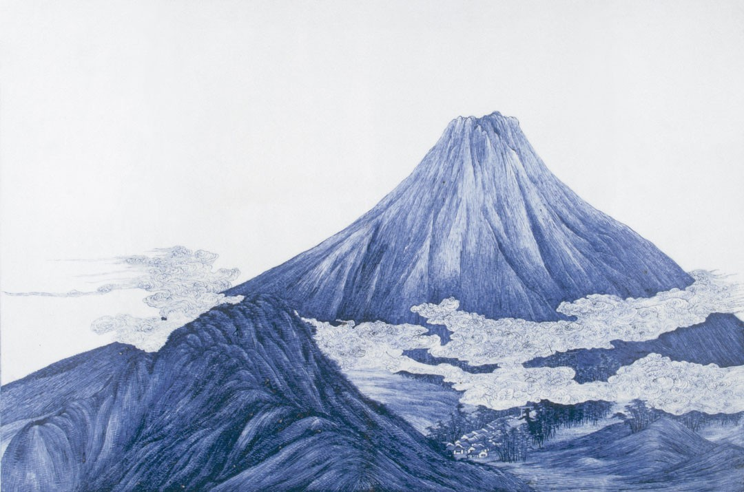 "<BODY><div>Kawamoto Masukichi (1831–1907), Ornamental panel ""Mount Fuji"" Japan, Seto, Meiji period (1868–1912), ca. 1872</div><div>Porcelain with painting in cobalt blue under the glaze; signed ""Kawamoto Masukichi"" </div><div>© MAK</div><div> </div></BODY>"
