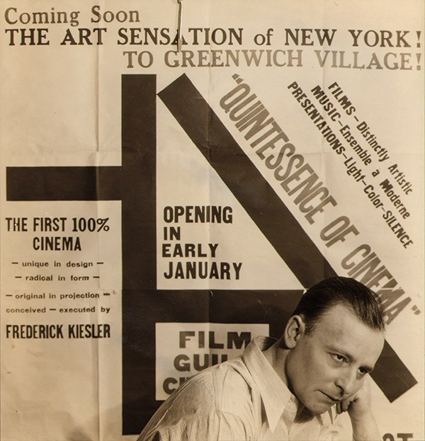 <BODY>Frederick Kiesler in front of the placard for the opening of the <em>Film Guild Cinema</em></BODY>