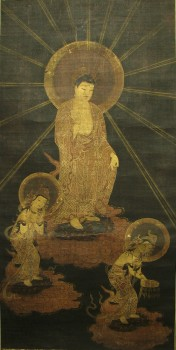AMIDA RAIGO (DESCENT OF BUDDHA AMITABHA) SCROLL