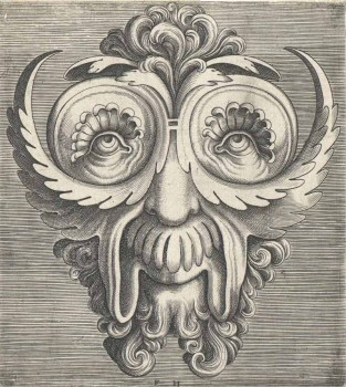"Ornamental engraving; Mask, Sheet from ""Pourtraicture ingenieuse de plusieurs Facons de Masques. Fort utile aulx painctres, orseures, Taillieurs de pierres, voirriers et Taillieurs dimages"", published by Hans Liefrinck"