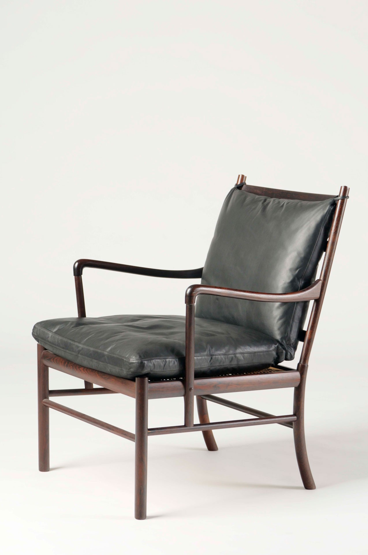 <BODY>Ole Wanscher, Armchair, Model No. PJ 149, Copenhagen, 1949<br />Rosewood, solid; wickerwork (rattan); upholstery with leather cover<br />© MAK/Nathan Murrell</BODY>