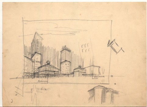 Adolf Loos, Sketch of proposed development concept for the Gartenbau property, Vienna's 1st district, Parkring, oblique sketch, 1917 Tracing paper, pencil © ALBERTINA, Vienna