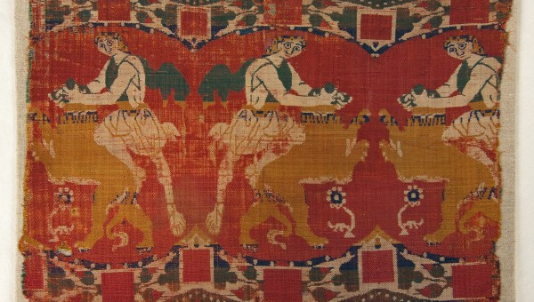TEXTILE FRAGMENT SHOWING SAMSON WRESTLING THE LION