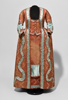 RED MANTEAU (MANTLE) DRESS with watteau pleat and blue trimmings
